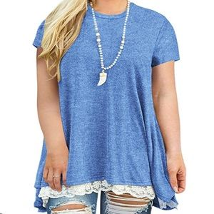 Lace Short Sleeve A-Line Tunic Top